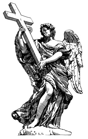 archangel: original sketch digital drawing of marble statue of angel from the SantAngelo Bridge in Rome, Italy, illustration