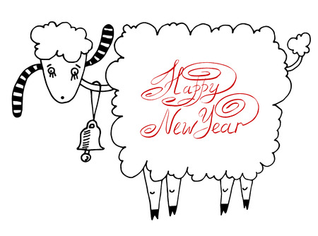 happy new year design card with goat or sheep, chinese lunar symbol 2015 year Vector