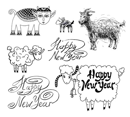 collection of happy new year design with goat or sheep, chinese lunar symbol 2015 year Vector
