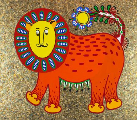 Ukrainian traditional fine art. Decorative fantasy animal. Original unusual artwork. Karakoko style photo