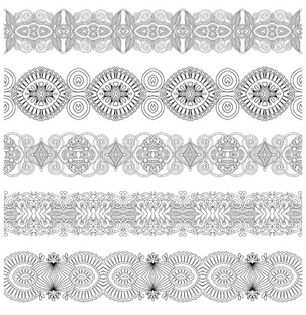 gray strip: collection of seamless ornamental floral stripes, black and white collection