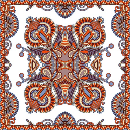 cotton fabric: Traditional ornamental floral paisley bandanna. You can use this pattern in the design of carpet, shawl, pillow, cushion, vector illustration