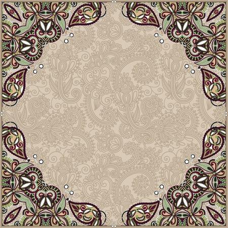 floral vintage frame, ukrainian ethnic style, vector illustration Vector
