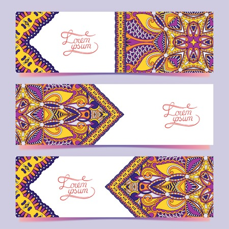 Set of three horizontal banners with decorative ornamental flowers, floral pattern in oriental style, paisley background, vector illustration Vector