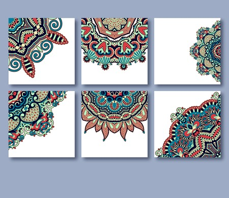 collection of decorative floral greeting cards in vintage style, ethnic pattern, vector illustration Vector