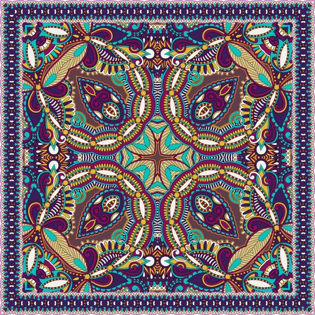 borders abstract: Traditional ornamental floral paisley bandanna. You can use this pattern in the design of carpet, shawl, pillow, cushion Illustration