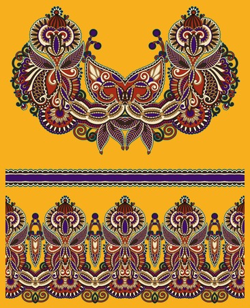 fabric design: Neckline ornate floral paisley embroidery fashion design, ukrainian ethnic style. Good design for print clothes or shirt.