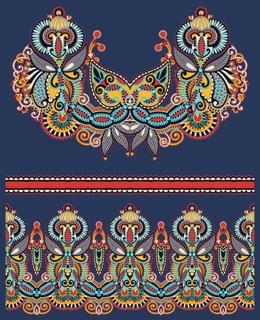 kashmir: Neckline ornate floral paisley embroidery fashion design, ukrainian ethnic style. Good design for print clothes or shirt.