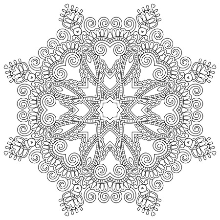 white napkin: Circle lace ornament, round ornamental geometric doily pattern, black and white collection. Vector illustration
