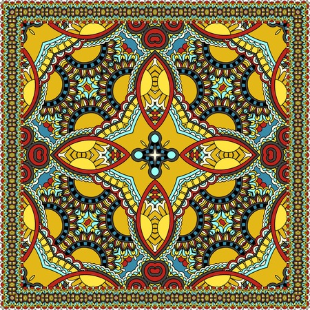 Traditional ornamental floral paisley bandanna. You can use this pattern in the design of carpet, shawl, pillow, cushion. Vector illustration 向量圖像