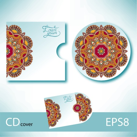 cd label: CD cover design template with ukrainian ethnic style ornament for your business, paisley pattern, vector illustration