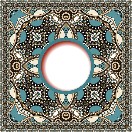 persian art: floral round pattern in ukrainian oriental ethnic style for your greeting card or invitation, template frame design for card, vintage lace doily, vector illustration