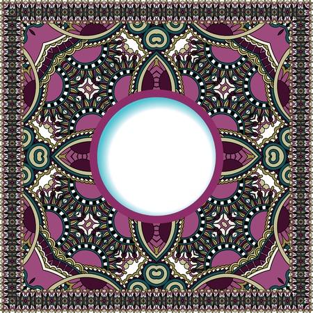 bloemen rond patroon in Oekraïense oosterse etnische stijl voor uw wenskaart of uitnodiging, sjabloon frame ontwerp voor kaart, vintage kant kleedje, vector illustratie