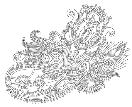 abstract design elements: original hand draw line art ornate flower design. Ukrainian traditional style, black and white collection, vector illustration Illustration