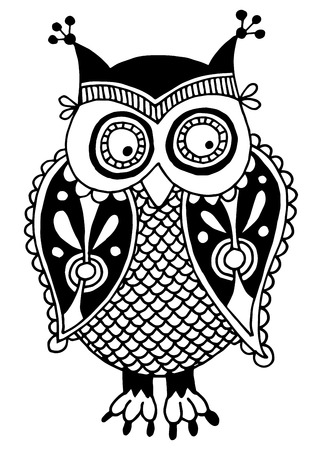 original artwork of owl, ink hand drawing in ethnic style, vector illustration in black end white colors Vector
