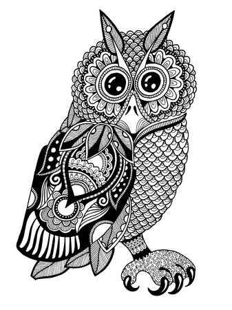 original artwork of owl, ink hand drawing in ethnic style, vector illustration in black end white colors