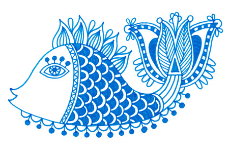 outline drawing of fish: marker drawing of decorative doodle fish, vector illustration