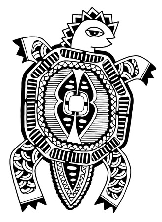 ink drawing of tortoise, ethnic pattern, black and white vector illustration Vector