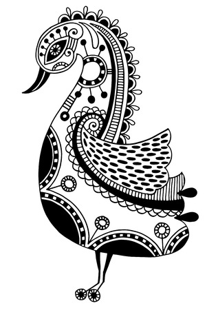 ink drawing of tribal ornamental bird, ethnic pattern, black and white vector illustration Vectores