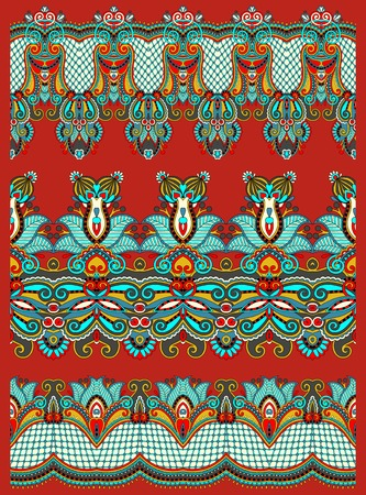 trendy tissue: seamless ethnic floral paisley stripe pattern, border set, ukrainian tribal ornament for print or embroidery ribbon, or for the design of polygraphy or web