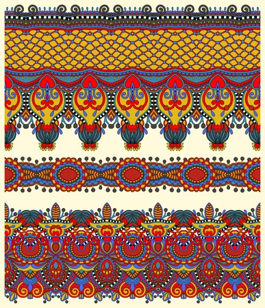 tissue texture: seamless ethnic floral paisley stripe pattern, border set, ukrainian tribal ornament for print or embroidery ribbon, or for the design of polygraphy or web