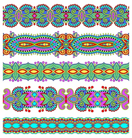 stripe pattern: seamless ethnic floral paisley stripe pattern, border set, ukrainian tribal ornament for print or embroidery ribbon, or for the design of polygraphy or web