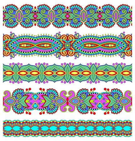 stripe pattern: senza soluzione di continuit� etnica floreale paisley stripe, set di frontiera, ornamento tribale ucraino per la stampa o il ricamo del nastro, o per la progettazione di polygraphy o web