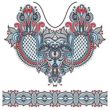 embroidery designs: Neckline ornate floral paisley embroidery fashion design, ukrainian ethnic style. Good design for print clothes or shirt. Vector illustration Illustration