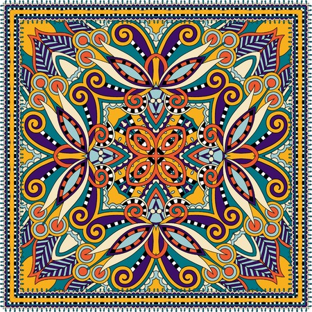 kerchief: Traditional ornamental floral paisley bandanna. You can use this pattern in the design of carpet, shawl, pillow, cushion, vector illustration