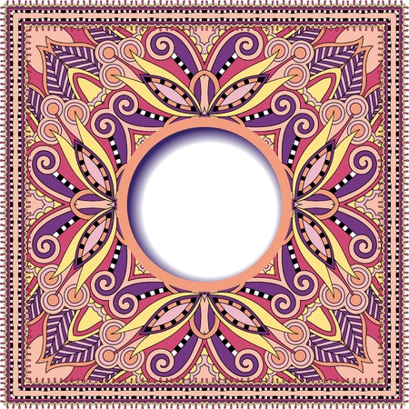 batik motif: floral round pattern in ukrainian oriental ethnic style for your greeting card or invitation, template frame design for card, vintage lace doily, vector illustration