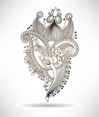 line art ornate flower design, ukrainian ethnic style, paisley hand drawing, vector illustration Vector