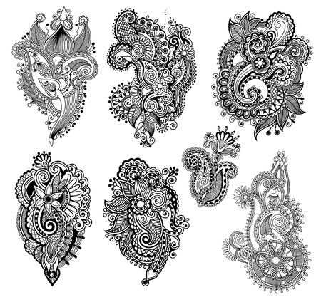 black line art ornate flower design collection, ukrainian ethnic style, hand drawing, vector illustration Vector