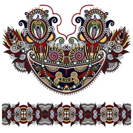 neckline: Neckline ornate floral paisley embroidery fashion design, ukrainian ethnic style. Good design for print clothes or shirt.