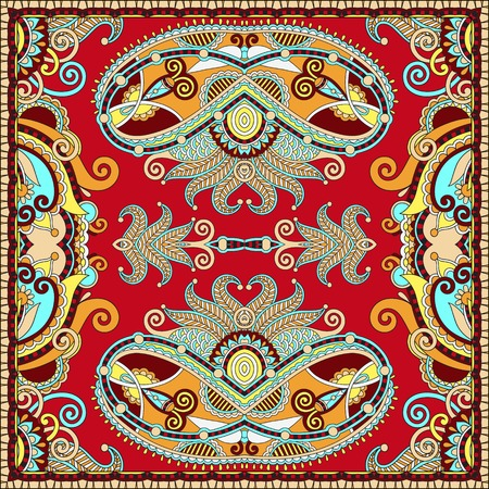 Traditional ornamental floral paisley bandanna. Square ornament. You can use this pattern in the design of carpet, shawl, pillow, cushion, vector illustration Illustration