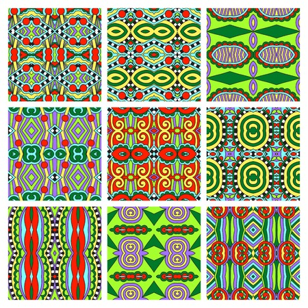 colored paper: set of different seamless colored vintage geometric pattern, texture for wallpaper, web page background, fabric and wrapping paper design, vector illustration