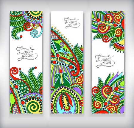 color pages: set of decorative flower template banner, card, web design with place for your text,vector illustration