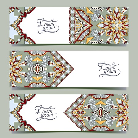 persian art: Set of three horizontal banners with decorative ornamental flowers, floral pattern in oriental style, paisley background, vector illustration