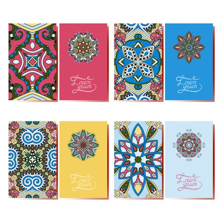 collection of ornamental floral business cards, oriental pattern, vector illustration Vector