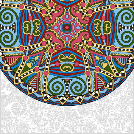 kaleidoscopic: ornamental floral template with circle ethnic dish element, mandala design, kaleidoscopic floral pattern, vector illustration Illustration