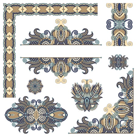 set of paisley floral design elements for page decoration, frame, corner, divider, circle snowflake, stripe pattern, vector illustration Vector