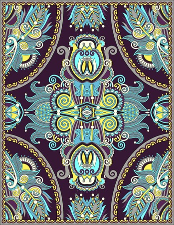 tapis: ukrainian floral carpet design for print on canvas or paper, karakoko style ornamental pattern, vector illustration