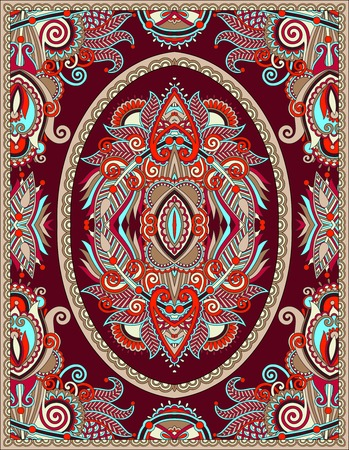 upholstery: ukrainian floral carpet design for print on canvas or paper, karakoko style ornamental pattern, vector illustration