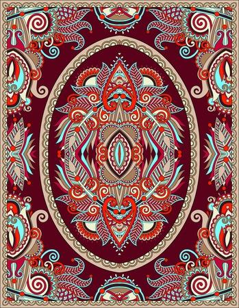tapis: ukrainian floral carpet design for print on canvas or paper, karakoko style ornamental pattern, vector illustration