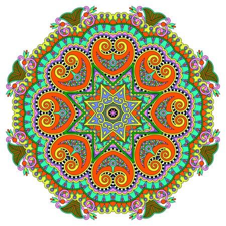 マンダラ、サークル飾りパターン ベクトル イラスト ラウンド、蓮の花の装飾的な精神的なインドのシンボル