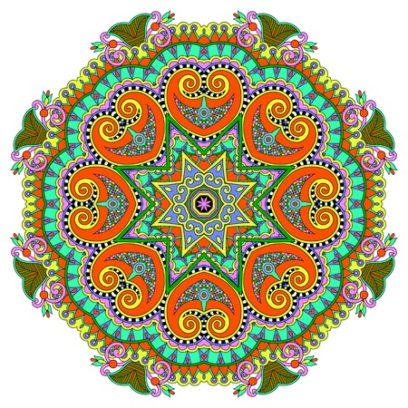 mandala, cirkel decoratief spirituele Indiase symbool van de lotusbloem, ronde ornament patroon, vector illustratie Stock Illustratie