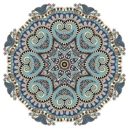 buddha lotus: mandala, circle decorative spiritual indian symbol of lotus flower, round ornament pattern, vector illustration