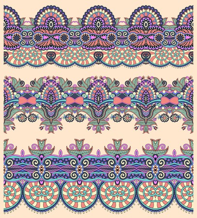 seamless ethnic floral paisley stripe pattern, border set, ukrainian tribal ornament for print or embroidery ribbon, or for the design of polygraphy or web Vector