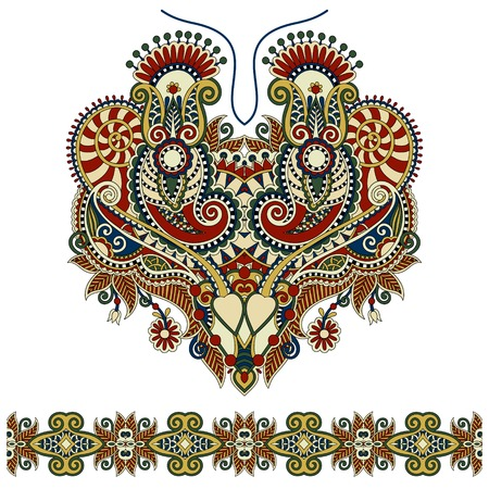 embroider: Neckline ornate floral paisley embroidery fashion design, ukrainian ethnic style. Good design for print clothes or shirt. Vector illustration Illustration
