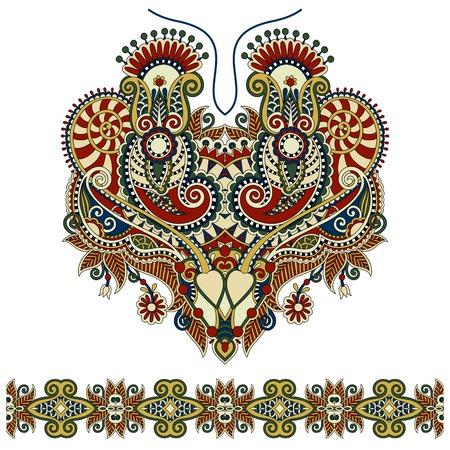 Neckline ornate floral paisley embroidery fashion design, ukrainian ethnic style. Good design for print clothes or shirt. Vector illustration Illustration