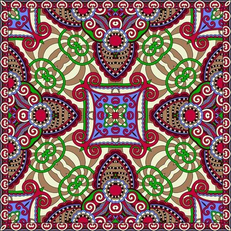 voile: silk neck scarf or kerchief square pattern design in ukrainian karakoko style for print on fabric.